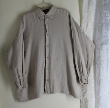 AS IS Eskandar O/S Original Natural Linen Boxy Blouse Shirt Tunic Top Lagenlook