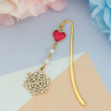 Snowflake Gold Plated Pearl Metal Bookmark Clear Rhinestone Perfect Reading Gift