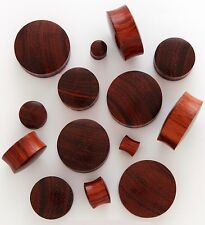 "1 Pair (2) 7/8"" 22mm Red Tigerwood Organic Solid Wood Saddle Plugs Ear Gauge 815"