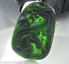 100% natural black/green  jade Dragon/Horse pendant With necklace-Handmade carve
