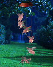 LED Lighted Flying Pigs Color Changing Solar Mobile Yard Garden Decor Wind Chime