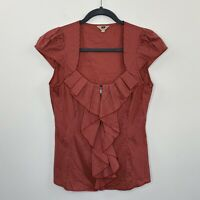Cue Womens Shirt Blouse Top Red Stripe Cap Sleeve Ruffle Zip Front Size 8