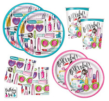 Girls Spa Makeup Birthday Party Supplies Pack - Dinner Plates, Cake Plates, Cups
