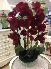 Beautiful Artificial Real Touched Dark Red Orchid Plant With Pot.