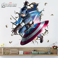 Captain America Wall Crack Decal Stickers Kids Superhero Avengers Home Decor Art