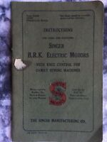 Vintage INSTRUCTIONS for using SINGER B.R.K. ELECTRIC MOTORS with  Knee Control