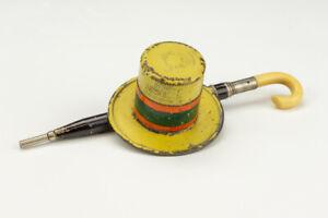 Antique Straw Boater & Umbrella Form - Novelty Pocket Travel Inkwell Ink Bottle