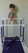 Gymnastic Uneven Bars, Balance Beam for American Girl Doll +Leotard/Headband Mat