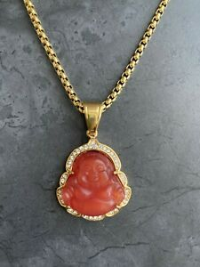 Laughing Buddha Pendant Necklace 18K Gold Plated Stainless Steel Box Chain