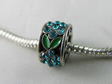 SP SPACER CHARM WITH BLUE CRYSTALS & ENAMEL FOR EUROPEAN STYLE CHARM BRACELETS