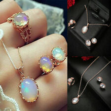 Fashion Jewelry Sets Opal Pendant Choker Water Drop Earrings Ring Necklaces
