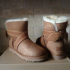 UGG Cameron Chestnut Grommet Suede Mini Bailey Bow Boots Size US 9 Womens NEW