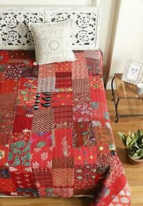 Red Queen Size Recycled Indian Sari Patchwork Blanket,Handmade Kantha Quilt