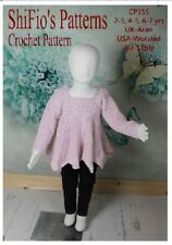 CROCHET PATTERN for GIRL'S TOP IN 3 SIZES 2-7 YEARS #355 NOT CLOTHES