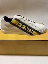 FENDI Men's Logo Print White/Yellow Leather Sneakers Size 9 US