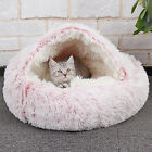 Pet Dog Cat Bed Round Plush Cave House Winter Warm Calming Sleeping Ultra Soft