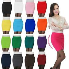 Sexy Women Mini Skirt Pleated Seamless Stretch Tight Business Pencil Dress FW