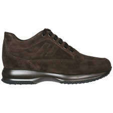 HOGAN MEN'S SHOES SUEDE TRAINERS SNEAKERS NEW INTERACTIVE BROWN 826