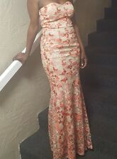 Mermaid Gown Coral Pink Tan Embroidered Evening Formal Strapless Wedding Women 7