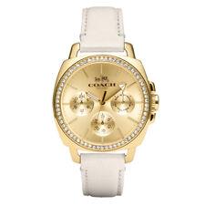 Coach 14502084 бойфренд золотой тон циферблат кожаный ремешок хронограф женские часы