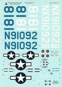 Accurate Miniatures 1/48th Scale F-2G Super Corsair Decals from Kit No. 0409