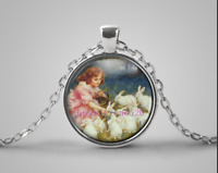Easter Bunny Photo Cabochon Glass Tibet Silver Pendant Chain Necklace