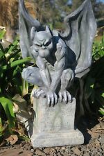 Gargoyle On Pedestal Statue Figurine Garden Decor Ornament Grey FREE SHIPPING