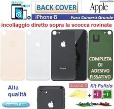 BACK COVER SCOCCA POSTERIORE PER APPLE IPHONE 8 NERO BIANCO Gold Ro.VETRO + KIT