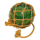 """Emerald Green Glass Netted Fishing Float Buoy - Approximate Diameter 5.5"""""""