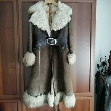 Montone vintage anni 60 70 Tg s Brown suede and leather shearling coat  giacca bd839be4d0b