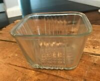 Vtg 50s Depression Federal Glass Clear Refrigerator Container Square Ribbed