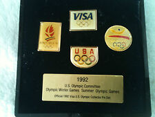 USA Olympics Committee 1992 Collector Pins Set Albertville Barcelona VISA Lot