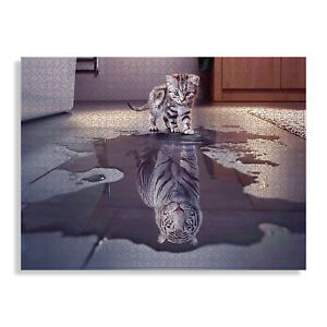 Jigsaw  Puzzle-1000 pieces-Kitten White Tiger Reflection-Hard But Not Impossible