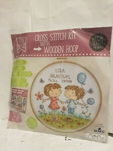 cross stitch kit with wooden hoop new in pack