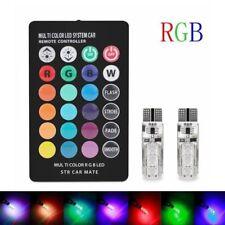 2PCS T10 W5W 5050 6SMD RGB LED Multi Color Light Car Wedge Bulbs Remote Control