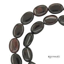 """15.6"""" Mahogany Obsidian Flat Oval Beads 10x14mm #89053"""