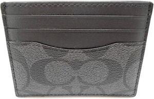 COACH F58110 Signature Compact Slim ID Credit Card Case Wallet -Charcoal Black