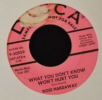 HEAR IT POP R&B Rose Hardaway Decca 30959 DJ That's What We're Here For