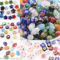 Wholesale 20/50 Mixed Millefiori Glass Loose Spacer Beads Charm Finding 4-13mm