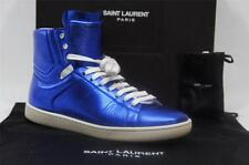 YSL YVES SAINT LAURENT HIGHT-TOP BLUE METAL LEATHER SNEAKER SHOES 37/7 $640