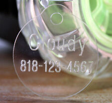 Custom Pet ID Tag Laser Engraved Dogs Cats Name Circle Tags Clear Acrylic
