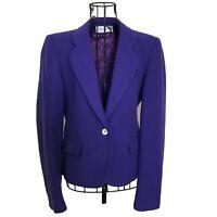 VTG Evan Picone Purple 100% Wool Jacket Blazer Long Sleeve Lined Size M