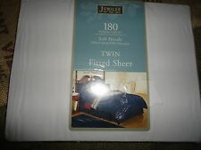 JUBILEE TWIN FITTED SHEET WHITE COTTON BLEND 180 THREAD COUNT