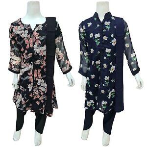 Girls Indian Printed Chiffon Suit Dress Kids Pakistani Salwar Kameez Shalwar