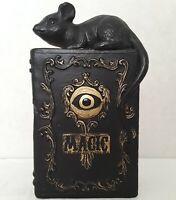Vintage Halloween Black Magic Eyeball & Rat Bookend Sculpture Collectible Curio