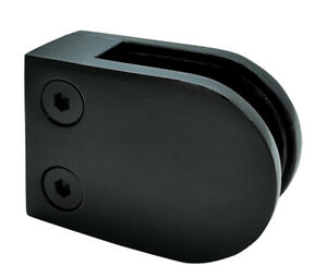 Black Glass Clamp - Flat Back - Glass Balustrade / Stair Clamp for 10mm Glass