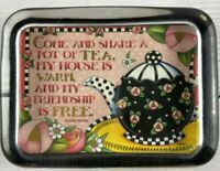 "Vintage Mary Engelbreit Glass Paperweight, ""Come And Share a Pot Of Tea"""