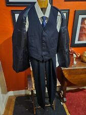 "Vintage Brooks Brothers ""346"" Blue Flannel 3 Piece Vest Suit, Flat Front, 42R"