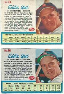 EDDIE YOST ANGELS ALL-STAR 1962 LOT OF 2 SIGNED POST CEREAL CARDS d. 2012