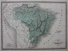 SOUTH AMERICA, BRAZIL, original antique map, Malte-Brun, c.1882